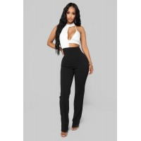 Women Breanna Colorblock Jumpsuit - White/Black Wide Leg Mock Neck CKJCQQH
