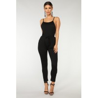 Women Hang Out Jumpsuit - Black Low Armhole Skinny Leg IKZUOQN