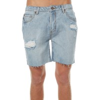"RUSTY Straight Six Ripped Mens Denim Short THRIFTED BLUE Outseam Length 18""  RYLYHRL"