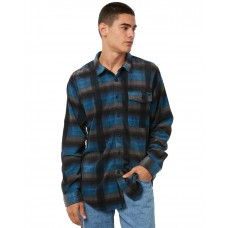 BILLABONG Furnace Mens Ls Flannel BLUE INDIGO Single chest pocket with flag detail UWRHWQE