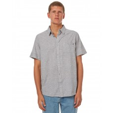 BILLABONG Helix Stamped Ss Mens Shirt SILVER Button down front closure MADCBHB