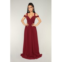 Women Honorable Intentions Dress - Wine V Neckline Cold Shoulder VHTXYAM