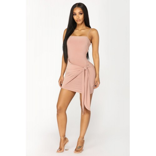 Women Knot Waiting For You Mini Dress - Mauve Wrap Up Overly Mini Dress ISLZQHO