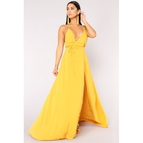 Women Lizbeth Dress - Mustard Wrap Around Maxi Dress TMWIWPR