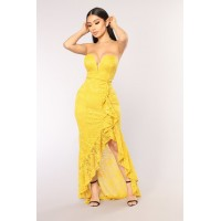 Women Takin' The Crown Ruffle Dress - Mustard Tube Wire Front GLEYCWU