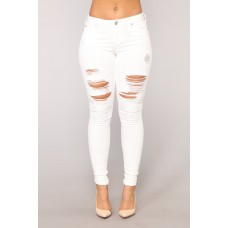 Women Chase Me Skinny Jeans - White Stretch Denim Distressed AYYSANY