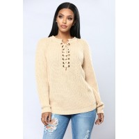 Women Lace Up Twist Sweater - Ivory Long Sleeve Knit OLDCCJT