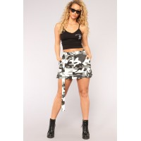 Women Survivor Camo Skirt - Grey Cotton Fabric Cargo Detail GPHQCRQ