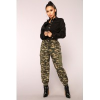 Women Cadet On Duty Cargo Pants - Olive Drawstring Waist Cargo Pockets RCEFJGR