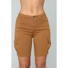 Women Cadet Kimberly Cargo Shorts - Camel Stretch Twill Cargo Shorts HVULIXI