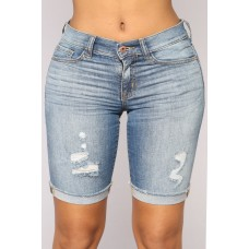 Women Call Me Crazy Denim Bermudas - Medium Blue Wash Distressed Roll Cuff FNIOIUC