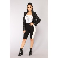 Women Ready Set Go Biker Shorts - Black/White Biker Short With Side Stripe Colorblock Ponte Stretch Fabric XUZFDBV