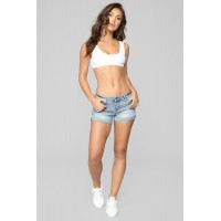 Women What's My Name Again Mid Rise Shorts - Light Blue Wash Roll Cuff Stretch Denim SFYBWJL